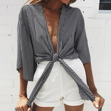 Stripe Flare Sleeve Tops Women Sexy Deep-V Drawstring Cotton Shirt Sale Size S-XL Top