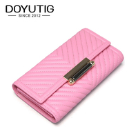DOYUTIG Brand Fashion Women Pink Genuine Cow Leather Long Wallets Real Leather Card Holder Case Lady Money Purse & Clutches A173