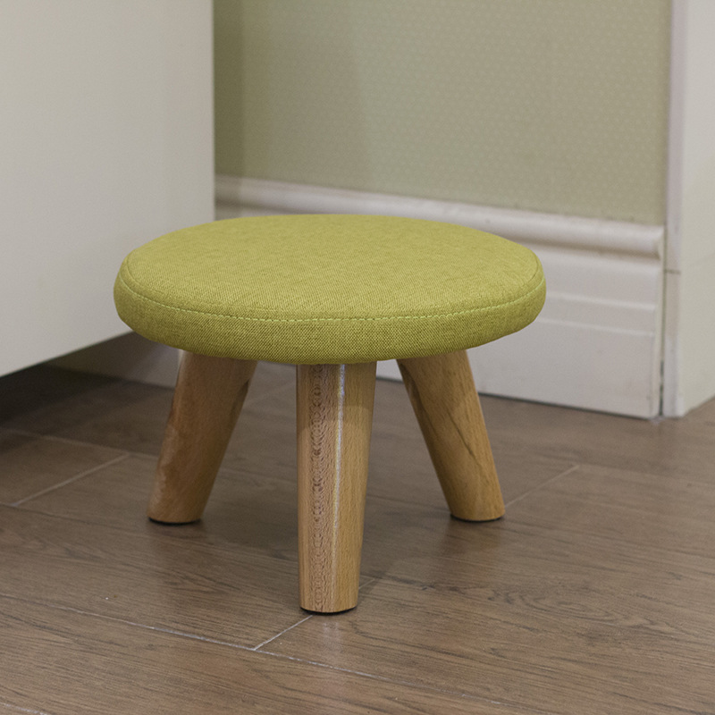 Simple And Stylish Solid Color Stool Household Wood Shoes Stool Creative Round Cute Childrens Stool 29x29x30cm