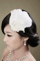 Feather Headdress Bride Lace Crystal Diamond Bridal Wedding Hair Accessories Wedding Camera Head Flower Jewelry Ballroom