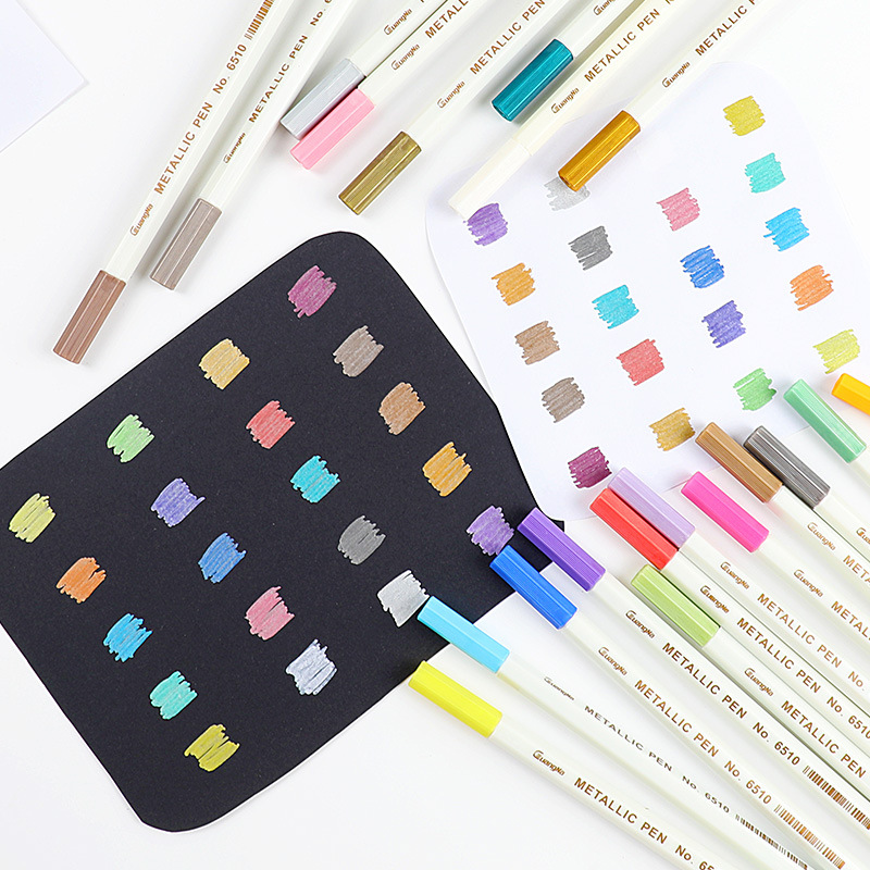 20 Colors Metallic Micron Pen Detailed Marking Metal Marker For Album Black Paper Drawing School Art Supplies White Paint Pens