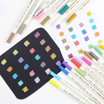 20 colors Metallic micron pen Detailed marking Metal marker for album black paper drawing School Art supplies white paint pens Marker Pens