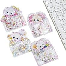 20 paquets/lot mignon belle fleur chat production autocollant dessin animé déco cadeaux étiquette pour enfants en gros