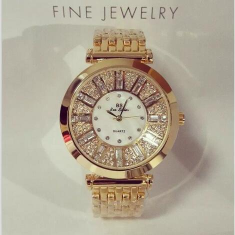 Fashion Women Watches Rose Gold luxury brand geneva Diamond Women Rhinestone Wat