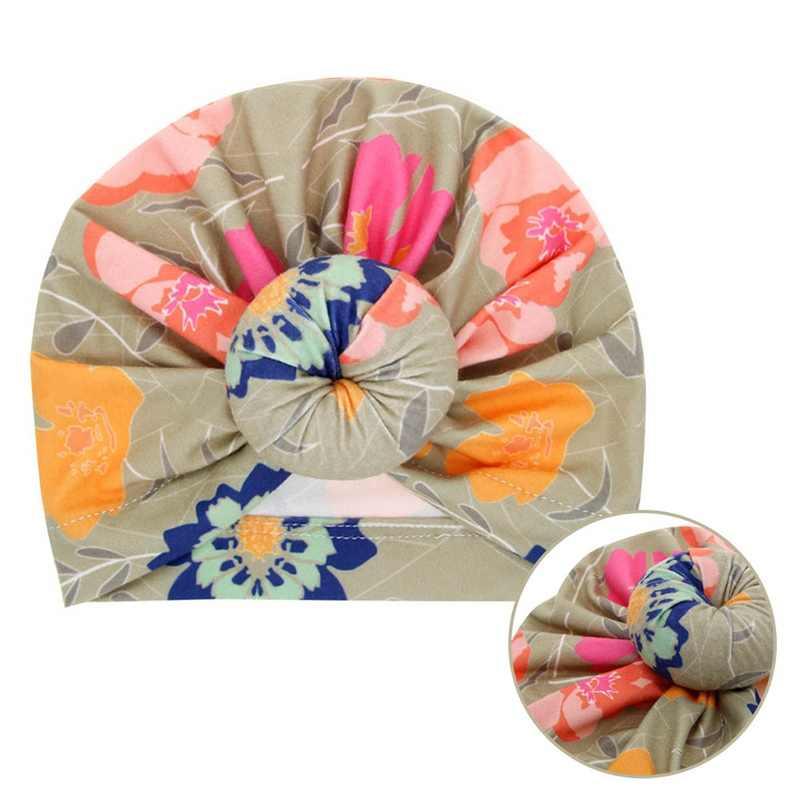 ฤดูใบไม้ร่วงฤดูหนาวหมวกเด็กหมวกเด็กหมวกเด็ก Dots ดอกไม้พิมพ์ Knotted หมวกเด็กวัยหัดเดินหมวกเด็กหมวกสำหรับ 3M ~ 3 ปี