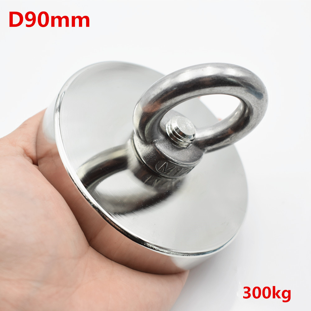 D90mm strong powerful round neodymium Magnet hook salvage Fishing magnet 300kg sea equipment Holder Pulling Mounting Pot ring