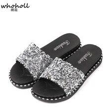 купить WHOHOLL Women Summer Home Slippers Flip Flops Peep Toe Sandals Glitter Sequins Sandals Platform Ladies Shoes Zapatos Mujer по цене 745.76 рублей