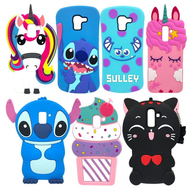 Cute Soft Silicone Case For Samsung Galaxy J4 J6 J8 2018 Protective Cases 3D Cartoon Pig Bear Stitch Unicorn Beard Cat Ear Cover image