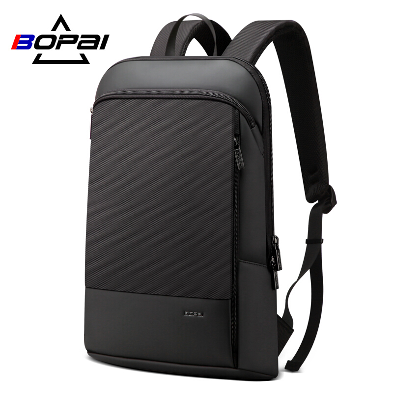 BOPAI Slim Laptop Backpack Men 15.6 inch Office Work Men Backpack Business Bag Unisex Black Ultralight Backpack Thin Back Pack