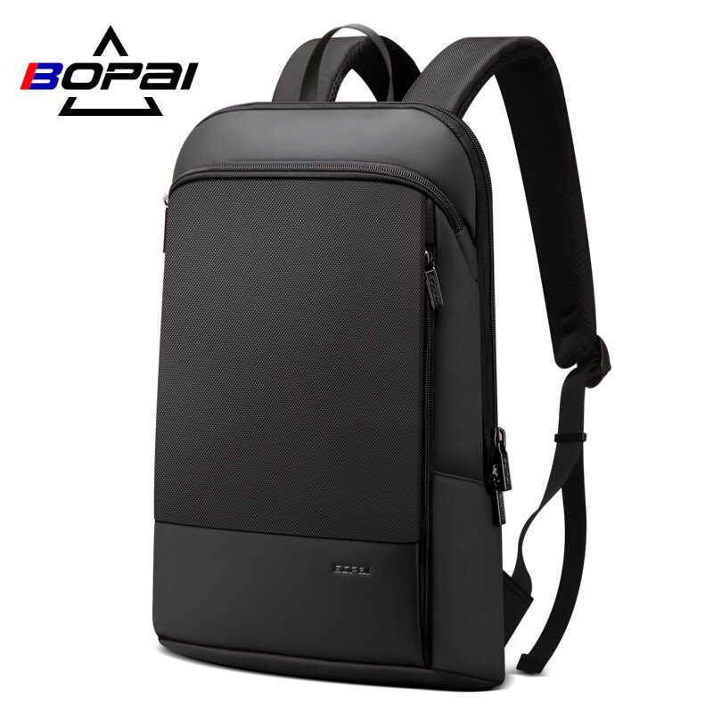Mochila para ordenador portátil BOPAI, mochila para hombre, para oficina, de 15,6 pulgadas, mochila de negocios, mochila negra ultraligera Unisex, mochila trasera delgada