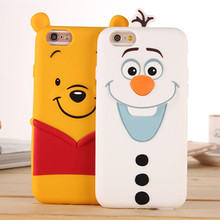 Lovely Snow Man Soft Silicon Case for iphone 5 5S 6 6s 6plus 7 7Plus Back Covers 3D Cute Cartoon Olaf Winnie Phone Shell
