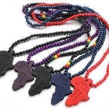 Африка географические карты деревянный цепочки и ожерелья хип хоп HIPA дерево кулон jewelry для мужчин и женщин