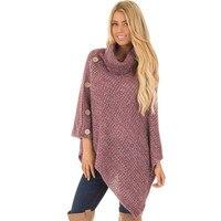 Women's sweater 2019 spring and autumn new solid color sweater women's high collar button irregular hem sweater