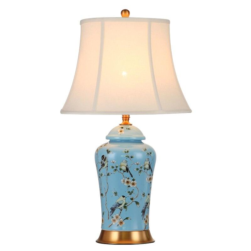High End Vintage ručně vyráběné čínské modré květiny pták keramická tkanina E27 stmívatelná stolní lampa pro obývací pokoj Ložnice H 68cm 1081