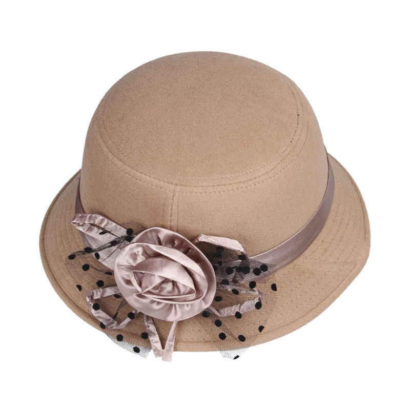 LNPBD Color sólido mujeres playa Retro Vintage lana fieltro Bowler Floral  Fedora sombrero Otoño Invierno cubo a9225eeba24