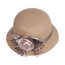 LNPBD Cor Sólida Mulheres Praia Retro Vintage Wool Felt Bowler Hat fedora  Floral Outono Inverno Balde 922d9128754