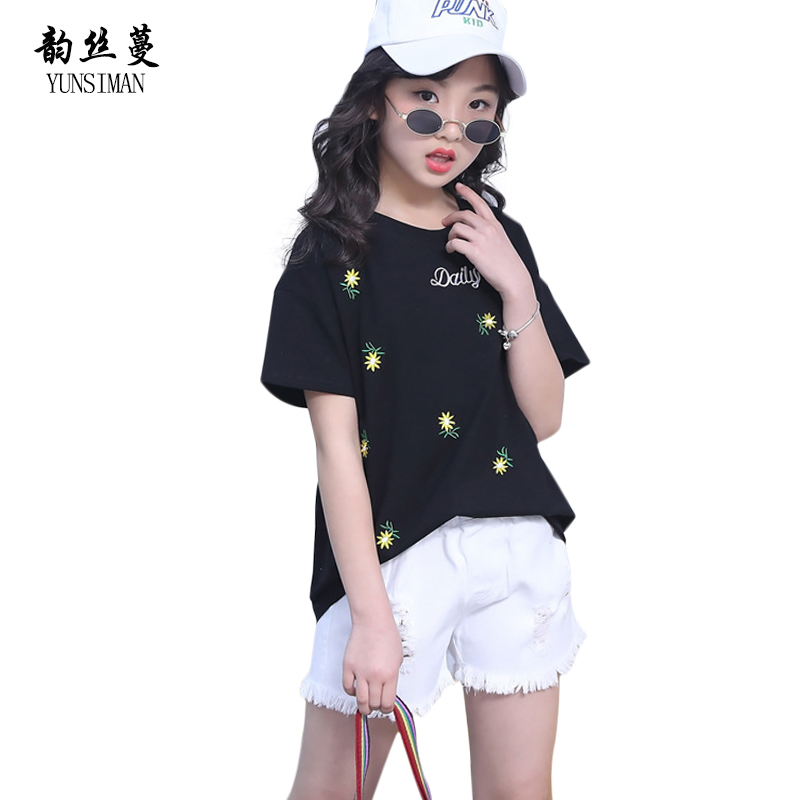 Flower Print Black T Shirt Jeans Shorts Sets 2 Pcs Clothing Sets for Girl 9 10 11 12 Y Children Kids Teens Cotton Clothes 38C11