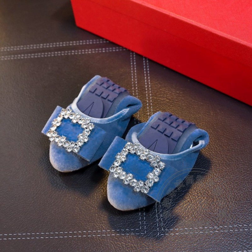 ФОТО High Quality Solid Foldable Ballet Shoes Matte Blue Leather Women Flats Shose Women Embellished Preppy Style Teenage Girls