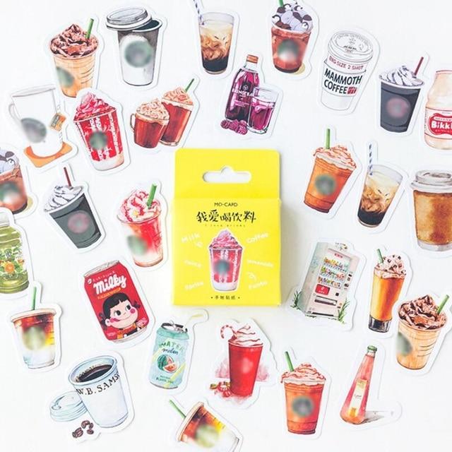 46 unids/caja Kawaii café bebida papel decoración papelería pegatina DIY diario planificador etiqueta pegatinas diario estudiante suministro