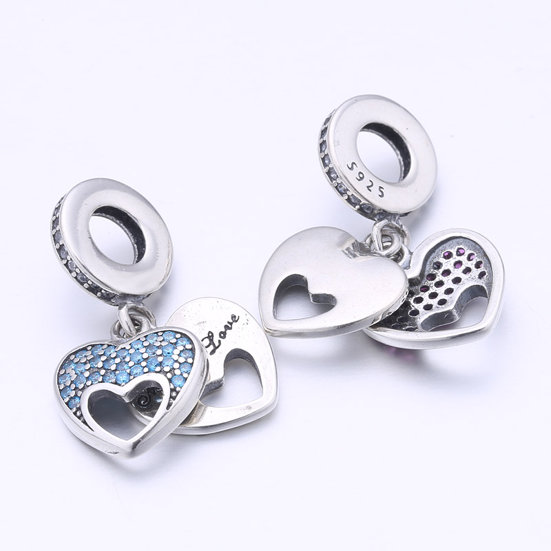 Real 925 Sterling Silver Mother Love Pendant Charm Sky Blue CZ Heart Beads  Fit DIY Bracelets For Women Original Jewelry Gift-in Beads from Jewelry ... 2e22bd663eee