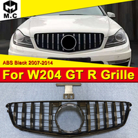For MercedesMB w204 grille grill GT R style ABS Black without sign C class C180 C200 C250 C300 C63 Look Front grills 2007 2014