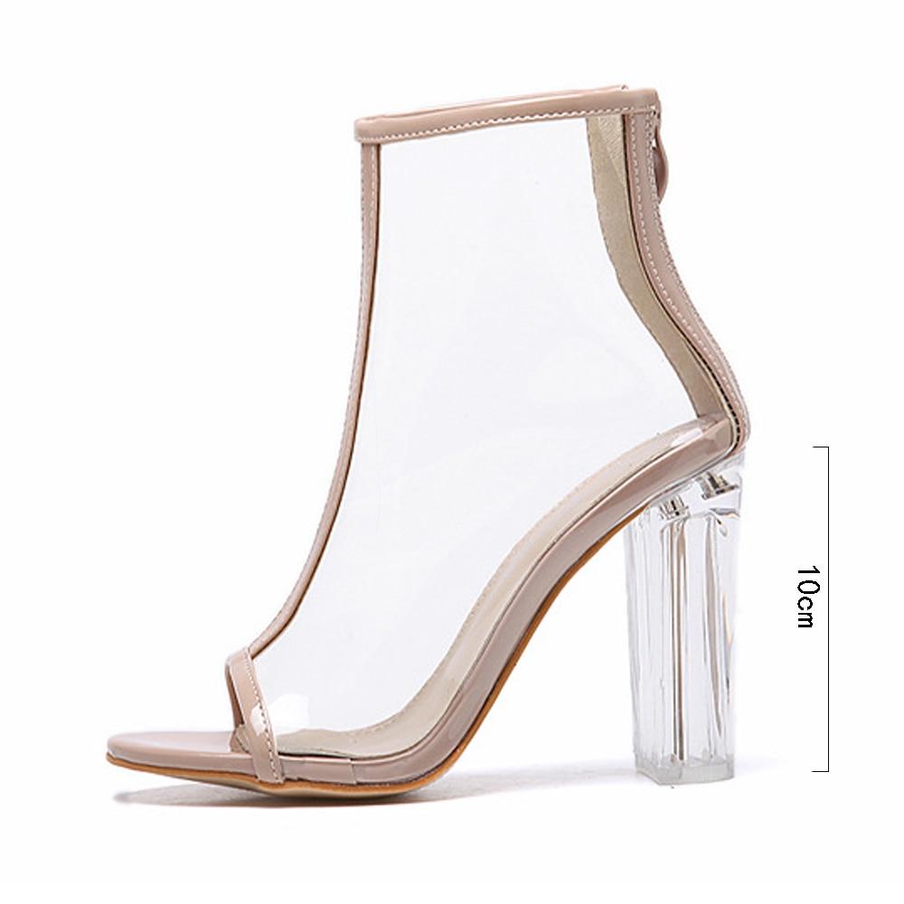 7e4e3444e40 2019 New Summer Transparent Heel Sexy Fashion Cool Sandals Jelly Sandals  Extreme High Heels Women Shoes Zipper