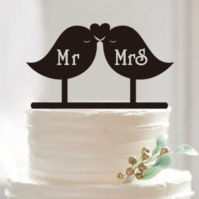 Online Shop Kiss Love Birds Mr & Mrs Wedding Cake Topper Acrylic ...