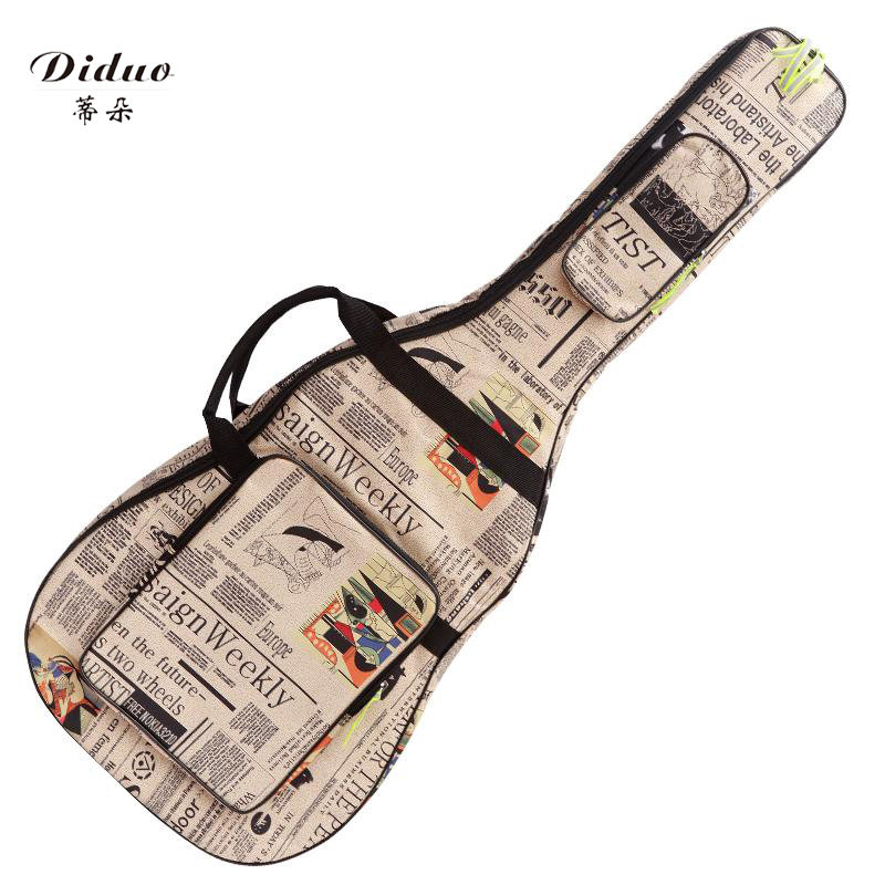 Stylish guitar bag, newspaper guitar bag, cool music, ballad, classical waterproof guitar bag dedo music gifts mg 308 pure handmade rotating guitar music box blue