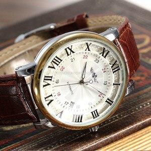 Image 4 - Rome numéro mode hommes gagnant haut marque or Sport montres auto vent automatique calendrier mécanique en cuir montre horloge