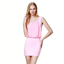 Sexy Sleeveless Women's Summer Dress 2018 OL Office Commuter Knitted Cotton Solid Color Round Beach Mini Dress White Pink Blue