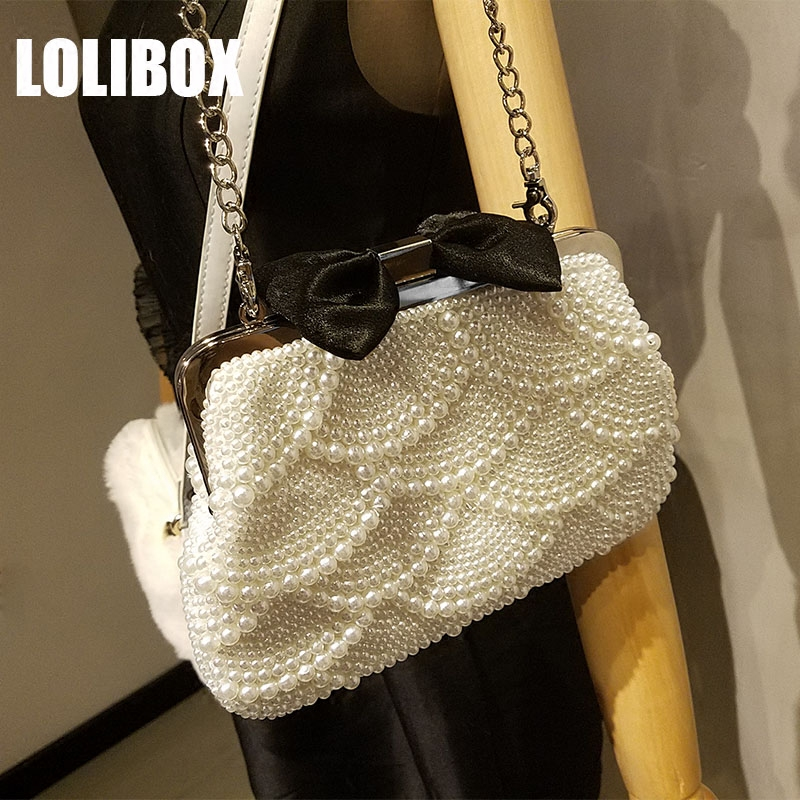 LOLIBOX Women Evening Bags New Pearl Bag Satin Crossbody Bags For Women Bow Beaded Ladies Chain Shoulder Bags Women Day Clutches tentop a two sided beaded fashion exquisite beaded evening bag noble elegant pearl clutches bags shoulder party bags white pearl