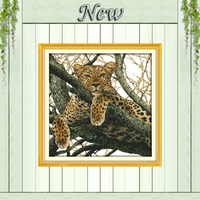 The Cheetah Tiger Leopard Paintings Counted Printed On Canvas DMC 14CT 11CT Chinese Cross Stitch Needlework