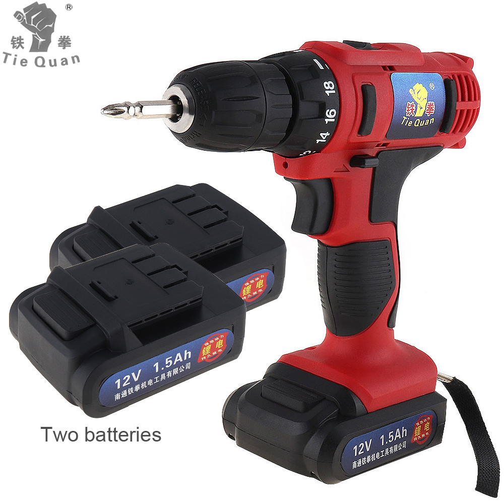 Cordless 12V Electric Drill Screwdriver Lithium Li ion Battery Two speed Screw Driver Power Tools for