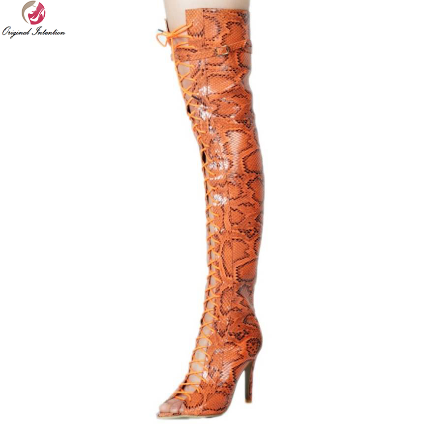Original Intention Sexy Women Over the Knee Boots Peep Toe Thin Heels Boots High-quality Brown Orange Shoes Woman Plus Size 4-15 original intention high quality women knee high boots nice pointed toe thin heels boots popular black shoes woman us size 4 10 5
