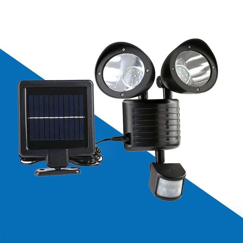 Outdoor Waterproof Energy Saving Double Solar Lamp for Street Yard Home Garden 22 LED Solar Power PIR Motion Sensor Wall Light