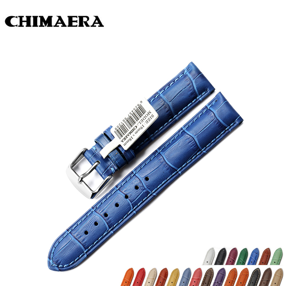 CHIMAERA Vintage Watchband 18mm Colorful Genuine leather watch band strap  with pin buckle for Tissot Omega Casio Breitling top brand luxury kopeck watch strap 18mm fashion men genuine leather strap belts pin buckle women watchband 20mm watch band 2017