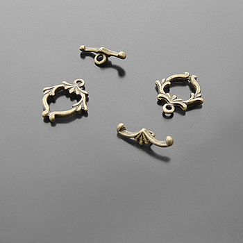 (20139)20Sets 16x15MM Antique Bronze Zinc Alloy O Toggle Clasps Bracelets Clasps Jewelry Findings Accessories