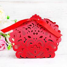 METABLE 50 PCS Laser Cut with Ribbon Wedding Party Favor Gift Bags Chocolate Candy and Boxes