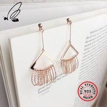 925 Sterling Silver Rose Gold Exaggeration Long Tassel Drop Earrings Multiple Circles Elegant Earrings Fine Jewelry For Women