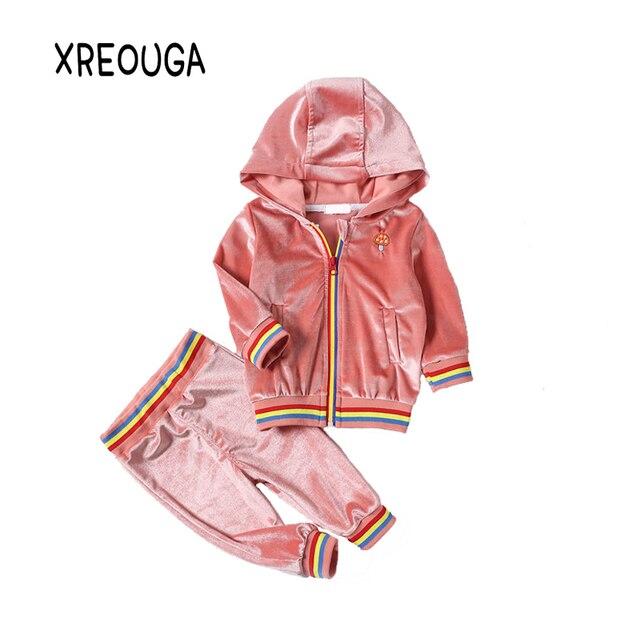 60ad5b9f972b Velvet Baby Girls Boys Clothing Set Mushroom Print Zipper Hooded ...