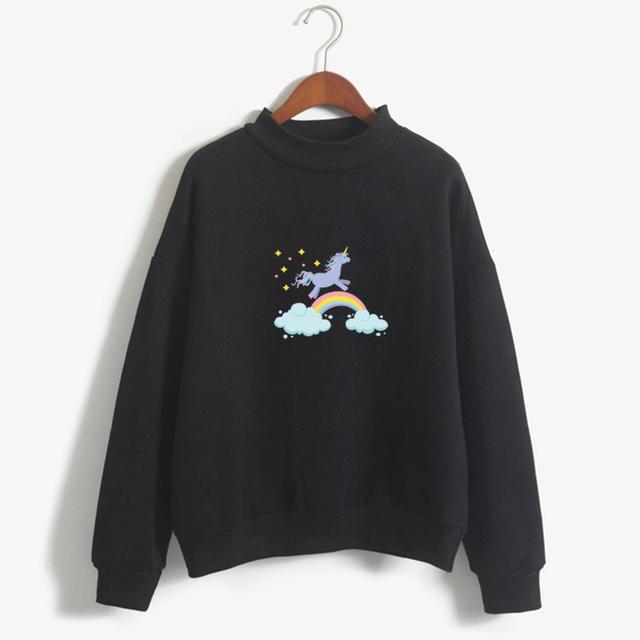 Drop shipping Rainbow Unicorn Hoodie Sweatshirts Printed Animal Horse Harajuku Style Autumn Winter Kawaii Unicornio Pullover