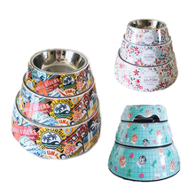 Durable Stainless Steel Pet Dog Food Bowls Lovely Cartoon Printed Feeder for Dogs Multi-function Container 10A