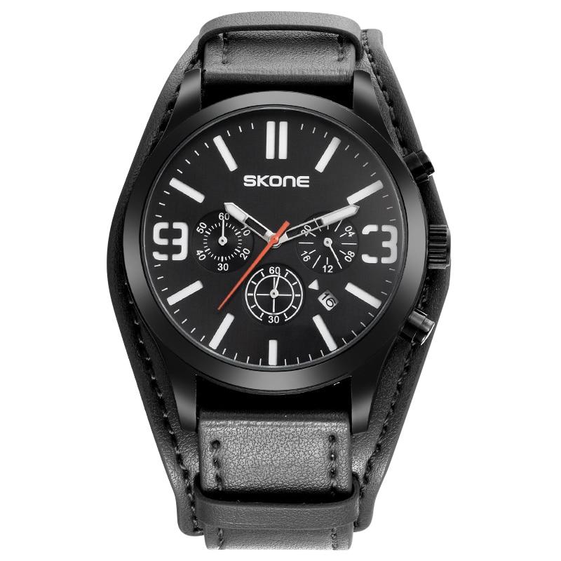 2017 SKONE Watch Men Watches Top Brand Luxury Unique Leather Band Quartz Watch Wrist Male Clock