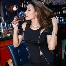 Black Women T-Shirt O-Neck Zipper Top