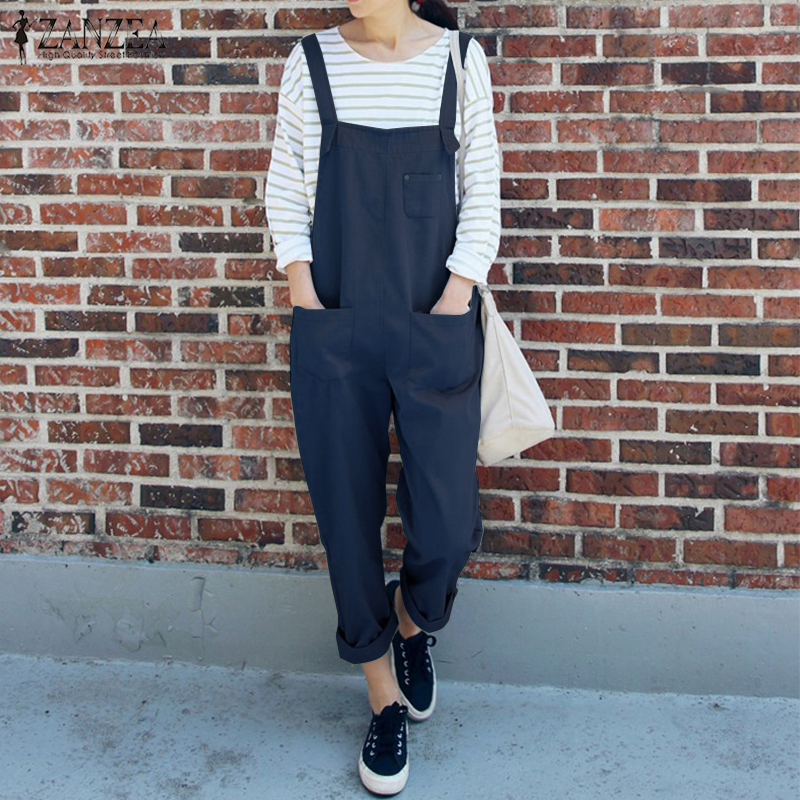 Plus Size 2018 ZANZEA Loose Solid Jumpsuits Women Summer Strappy Sleeveless Casual Party Work Dungarees Rompers Bib Overalls ...