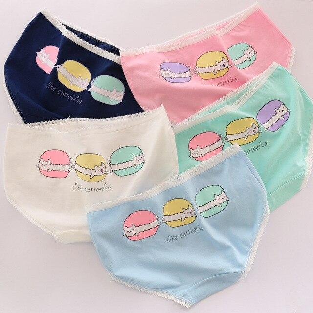 98da07010a0 HUI GUAN Food Patterned Macaron Cartoon Underwear Women Cute Underwear Pink  Cotton Panties Girls Soft Seamless
