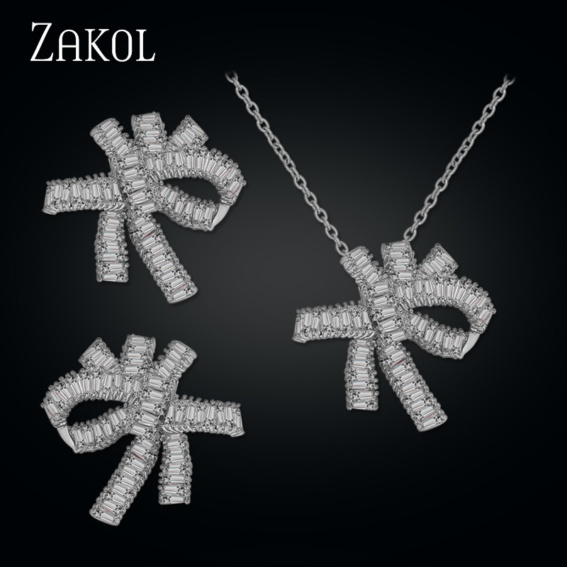 ZAKOL Sliver Color Top Quality Cubic Zircon Bowknot Shape Jewelry Sets For Women Gorgeous Pageant Free