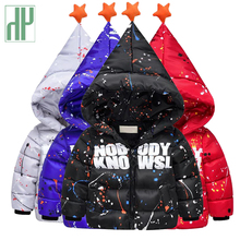 Infant down jackets Fashion printing graffiti winter boys coat for girls parka thick warm childrens hood