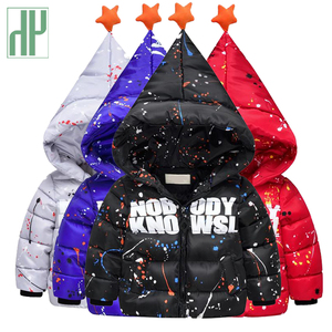 Children's winter jackets Fashion printing graffiti baby down jacket for girls parka thick warm boys coat hood kids outerwear HH