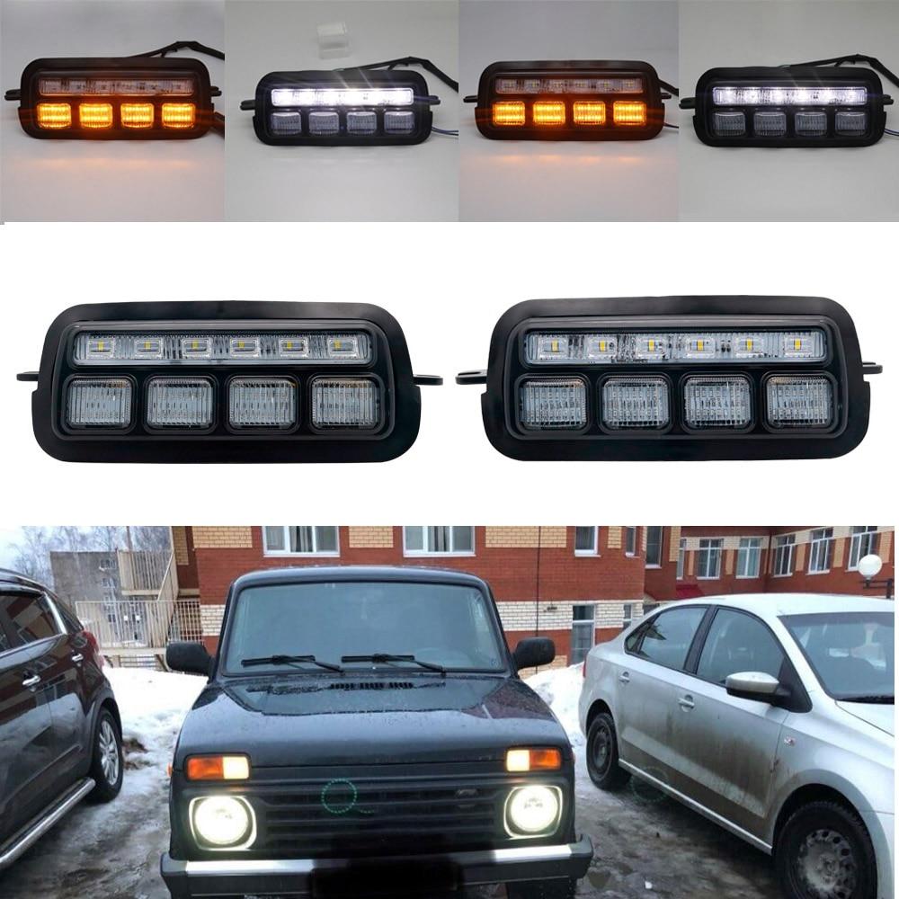 LED Daytime Running Lights for Lada Niva 4x4 1995 DRL H4 Headlight 7 inch Led Headlamp White Angel Eyes Amber Turn Signal
